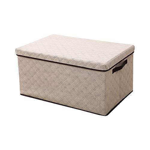 Storage doos met grote capaciteit Stof vouwen opbergdoos Foldable Bakken Toys Organizer met een deksel en handgrepen Storage Basket Wasmand,Beige,L