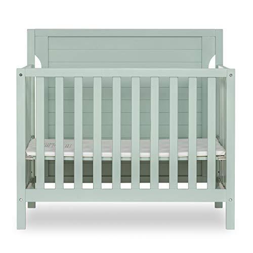 Dream On Me Bellport 4 in 1 Convertible Mini/Portable Crib I Mini Baby Crib I Includes 15 Mattress Light Seafoam Green
