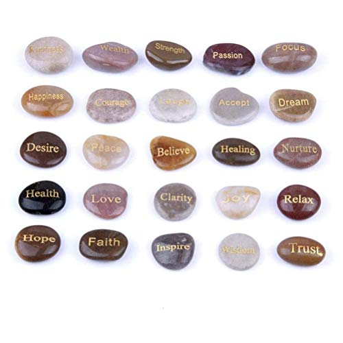 YWAWJ Color Natural Pebble Letras Piedra de la Runa de Cristal Reiki Feng Shui Decoración Artesanía Boutique Lluvia Flor de Piedra Adivinación Adivinación Piedra Conjunto de 25