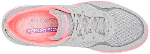 Skechers Women's Flex Appeal 3.0-go Forward Trainers, Grey Burgundy Leather Mesh Off White Trim Lghp, 5 UK