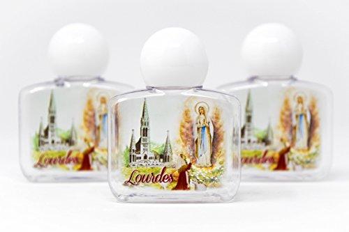 Lourdes Heiliges Wasser, in 3 quadratischen Kunststoff-Flaschen, gefüllt und gesegnet von einem Priest, Größe 35 ml und Lourdes-Gebetskarte, authentische katholische Geschenke