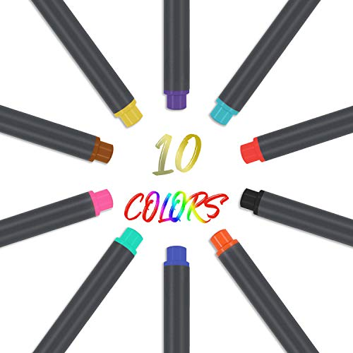 Fineliner Color Pens Set, 10 Colors Fine Point Markers Drawing Pen, 0.38mm Perfect for Writing Journaling Planner Coloring Book Sketching