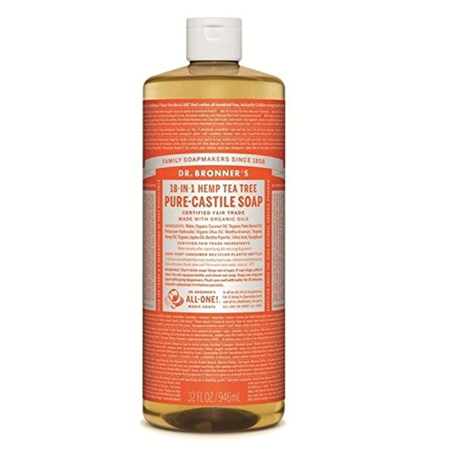 退屈なクリック見えるのブロナーオーガニックティーツリーカスティーリャ液体石鹸946ミリリットル x4 - Dr Bronner Organic Tea Tree Castile Liquid Soap 946ml (Pack of 4) [並行輸入品]