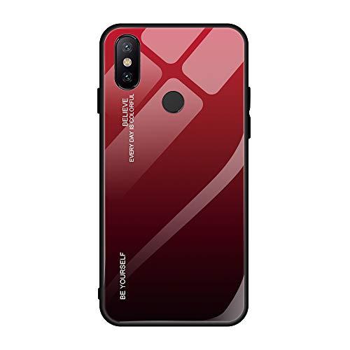 Caja Compatible con Funda Xiaomi MAX 3 Caso del teléfono de Color Degradado Vidrio Hard Case Bumper Anti-Scratch Antideslizante Full protección Cover Adecuado para Xiaomi MAX 3