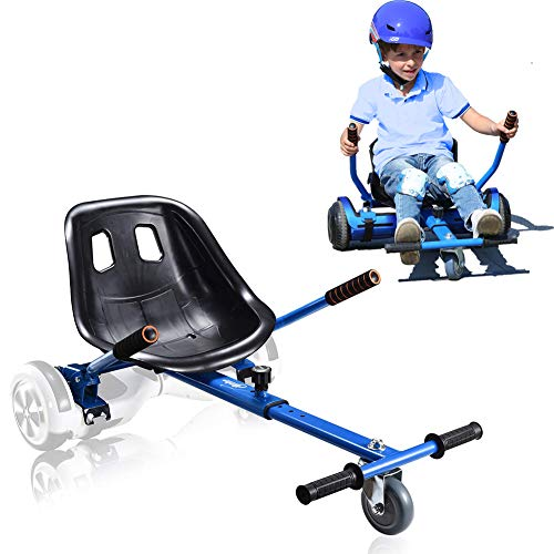 """Hishine Hoverboard Go Kart Seat Attachment, Heavy Duty Buggy, Accessories for Hoverboard, Go Cart for All Ages, Apply to Most 6.5"""", 8"""", 10"""" Hoverboard, Easy to Assamble, and Happy to Play (Blue)"""
