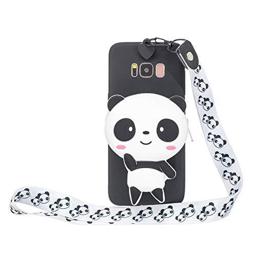 Miagon Silikon Hülle für Samsung Galaxy S8,3D Süß Brieftasche Lager Tasche Design mit Halskette Kordel Schnur Handykette Necklace Band,Panda