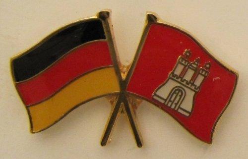 Hamburg / Deutschland Fre&schafts Pin Anstecker Flagge Fahne Nationalflagge Doppelpin Flaggenpin Badge Button Flaggen Clip Anstecknadel