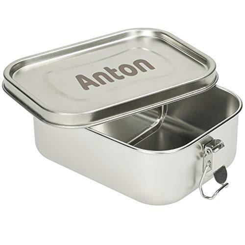 Personalisierte Edelstahl Brotdose mit Gravur & Trennfach Lunchbox aus Metall mit Namen – Perfekte Brotdose für Kinder und Erwachsene – Mit Klemmbügel & Gummidichtung (1000ml - Mit Gravur)