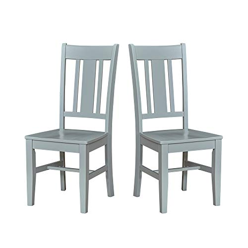 Amazon Brand – Ravenna Home Classic-Style Solid Pine Dining Chair, 40'H, Gray Finish, Set of 2