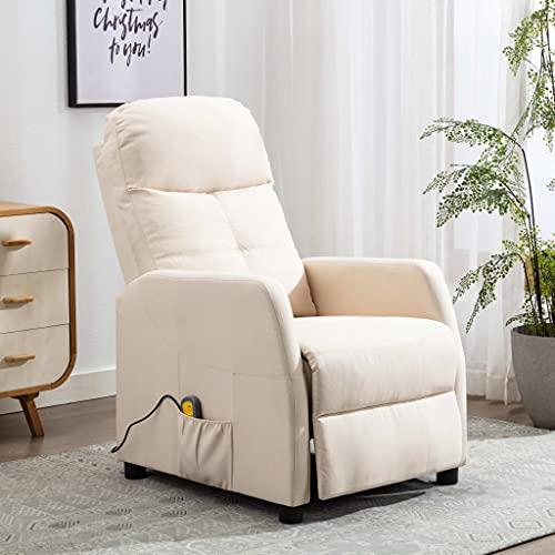 vidaXL Sillón Reclinable con Reposapiés Respaldo Ajustable Silla Asiento Salón Oficina Relax Mueble Elevador Ergonómico Cómoda de Tela Crema