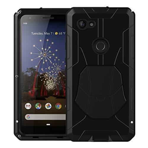 Pixel 3a Hülle, Google Pixel 3a Metallgehäuse mit Gorilla-Glas-Bildschirmschutz, Panzer, Militär, Aluminiumlegierung, Stoßfest, Harte Metall-Abdeckung, schwarz