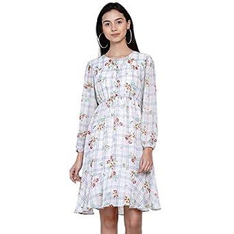 Abiti Bella Women's Western White Checkered Floral A-Line Dress