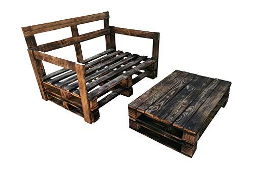 1 x Sofa de palets + 1 x Mesa de pallets Muebles con pallets para Terraza & Jardin & Patio & Balcon para Exterior & Interior