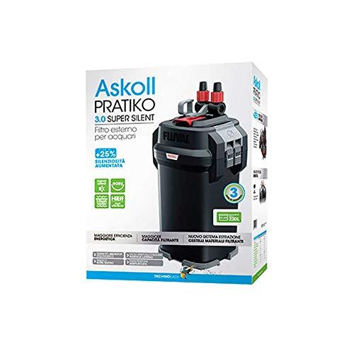 Askoll Pratiko 200 3.0 Super Silent Filtro Esterno per acquari Fino a 230 Litri New 2019, Nero