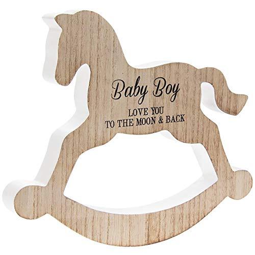 Placa de madera con texto en inglés 'Baby Boy Love You To The Moon & Back'