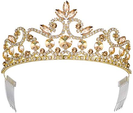 YZHSTONE Queen Crowns Tiaras Women Birthday Queen Princess Girls Tiaras Crowns Gold Crystal product image