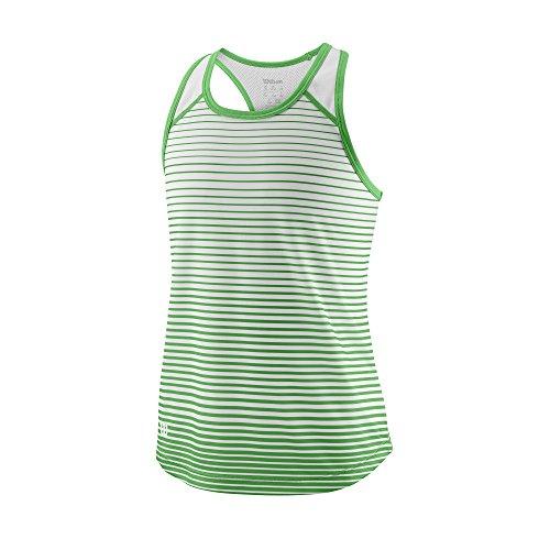 Wilson Mädchen Tennis-Tank Top, G Team Striped Tank, Polyester, Grün/Weiß, Größe: M, WRA769802
