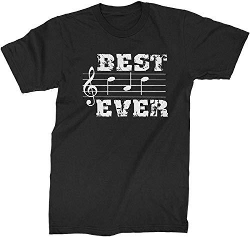 Divertido gráfico de verano notas musicales Best Dad Everer para hombre camiseta de moda elegante camisa Negro Negro ( XL