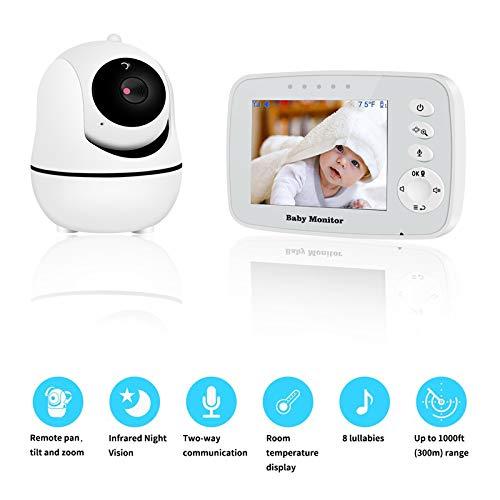 RROWER Video-Baby-Monitor Mit 3.2Inch LCD Display, Infrarot-Nachtsicht, Zwei-Wege-Audio Und Raumtemperatur-Überwachung, Lullaby Und Support Multi-Kameras