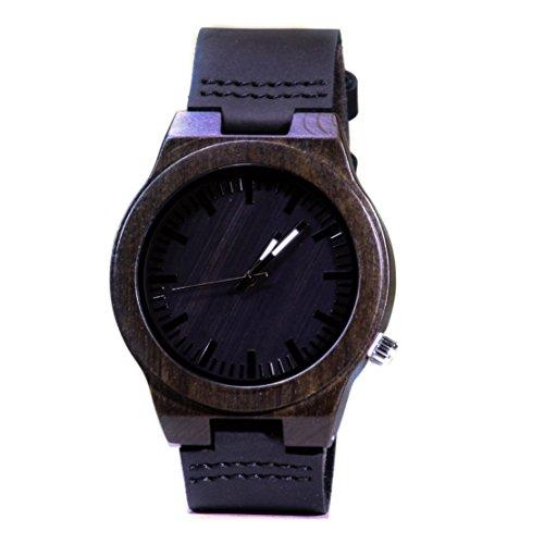 Loxley 'Nock analógico Dial de reloj de madera con movimiento de cuarzo, colores de madera de ébano madera natural y piel banda