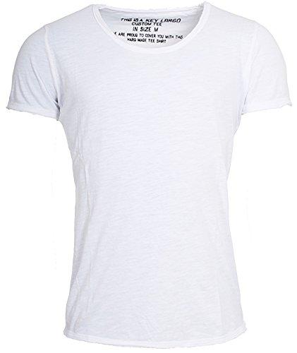 KEY LARGO Herren Vintage Used Destroyed Look Uni Basic T-Shirt Bread New Round Neck tiefer Rundhals Ausschnitt einfarbig T00621, Grösse:M, Farbe:Weiß