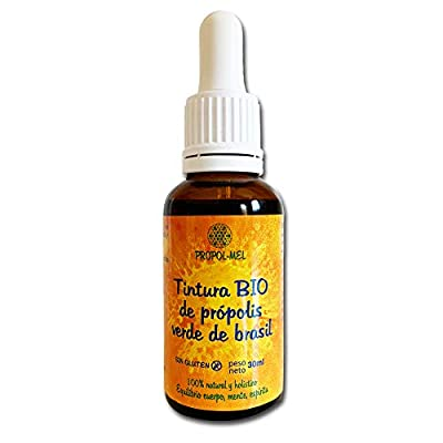 Green Propolis Tincture from Brazil 30 ml - BIO. Propolis Extract has Antibacterial, antiviral and Immune Boosting Qualities. 100% Natural, Gluten-Free, 25% Weight/Volume.