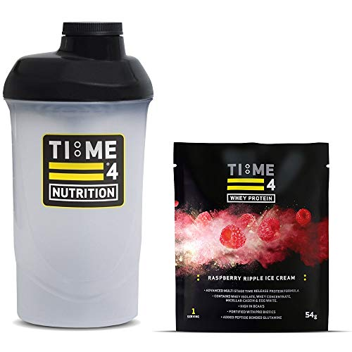Time 4 Nutrition 700ml Protein Shaker Bottle + Single Serving Sachet of Time 4 Whey Protein Our Premium Time Release Whey Protein Blend (Raspberry Ripple Ice Cream)