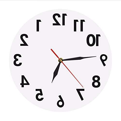 ganjue Umgekehrte Wanduhr Ungewöhnliche Zahlen Rückwärts Moderne Dekorative Uhruhr Hervorragende Uhr Für Ihre Wand Weiß