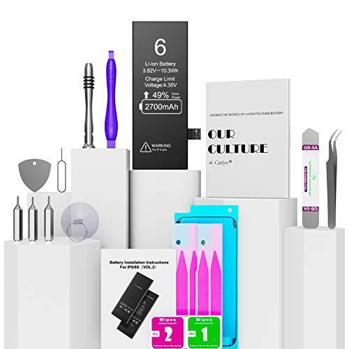 Batería para iPhone 6 2700mAh con 49% más de Capacidad Que la batería Origina, Reemplazo de Alta Capacidad Batería para iPhone 6 con Kits de Herramientas de reparación, 2 Años de Garantía