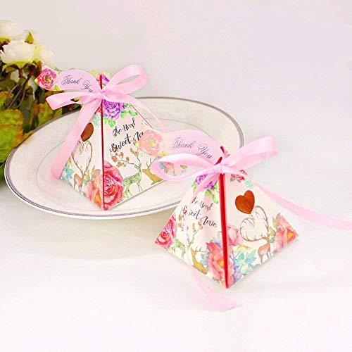 JZK 50 Cajas triángulo Floral corazón Rosa Cajas