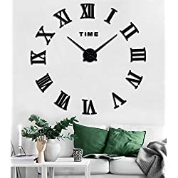 SIEMOO Large DIY Wall Clock Kit, 3D Modern Frameless Wall Clock with Mirror Number Stickers for Home Living Room Bedroom Office Decoration-Black