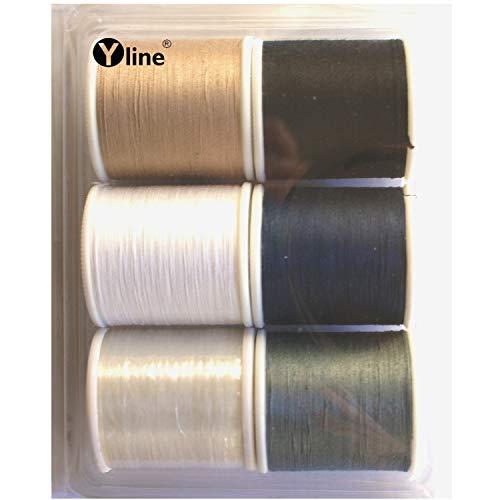 Surtido de 6 bobinas de hilo de coser: 5 unidades de 100 m, hilo superior Ne 50/3 y 1 pieza transparente – Hilo de coser de 200 m, 3085