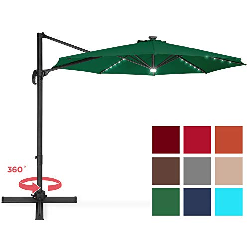 Best Choice Products 10-Foot Solar LED 360 Degree Aluminum Polyester Cantilever Offset Market Patio Umbrella Shade w/Easy Tilt and Smooth Gliding Handle, Green