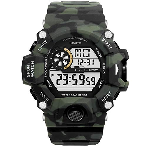 KXAITO Men's Watches Sports Outdoor Waterproof Military Watch Date Multi Function Tactics LED Alarm Stopwatch (camo-Green)