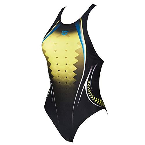 arena Damen Sport Badeanzug One Placed Print 001191 [506] Black-Soft Green 38
