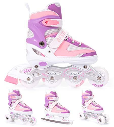 BESTIF Inliner für Kinder und Erwachsene Inline Skates 4in1 Rollschuhe Schlittschuhe Verstellbar (Rosa-Lila, 38-41)