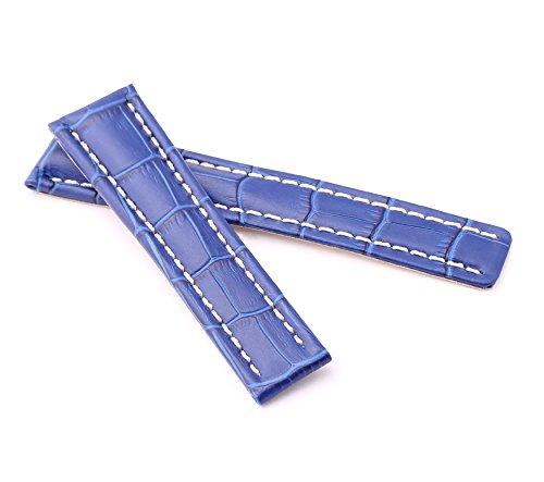 BOB Herren Faltschließband Alligator Style kompatibel Breitling 22/18 mm royal blau