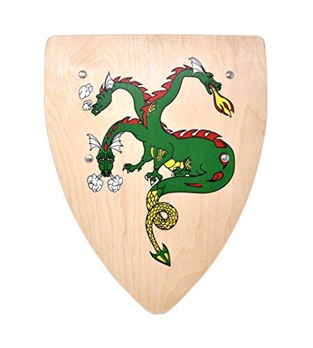 Woudi I Stabiles Ritter Schild mit verschiedenen Motiven 37,5/30cm Birkenholz Natur I Unbedenkliche Farben I zwei genietete Halteriemen I Made in EU (Drache)
