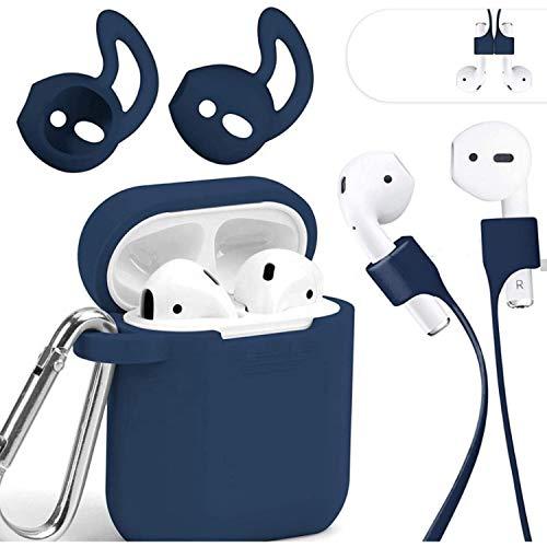Mauri Coque AirPods en silicone compatible avec écouteurs Apple Earpods 2 & 1, Air-Pods Cover avec support de recharge sans fil et mousqueton, étui bleu