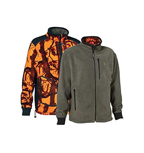 NEU ProHunt Fleece Wendejacke Herren Grün BZW. Orange mit Tarnmuster, warm (XL)