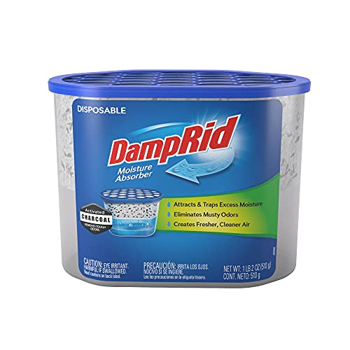 DampRid Fragrance Free Disposable Moisture Absorber with Activated Charcoal; 18oz - 3 Pack; Moisture Absorber & Odor Remover