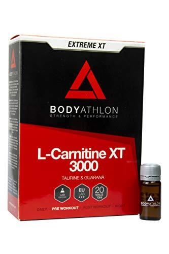 Bodyathlon - L Carnitina 3000 Líquida Extreme XT - Con Taurina y Guaraná - Suplemento Deportivo – Alta concentración - 20 Viales Sabor Tropical