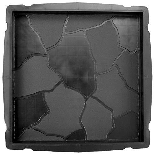 @tec Betonform Schalungsform Gießform Plastikformen für Beton, Pflastersteine, Terrassenplatten, Trittplatten, Bodenplatten und Gehwegplatten in Bruchsteinoptik/Naturstein für Garten 35x35x4 cm