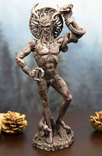 Ebros Gift Celtic Shaman God Cernunnos The Horned God Holding Torc and Snake Resin Figurine in Clay Colored Finish Herne The Hunter Counterpart Decorative Statue