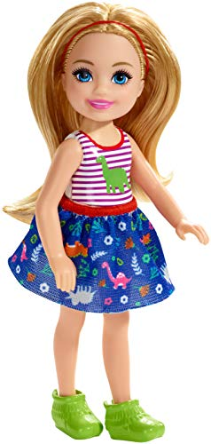 Barbie Club Chelsea Doll, 6-inch Blonde with Dinosaur-Themed Look,  (GMR96)