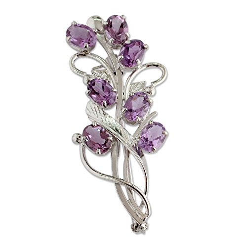 NOVICA Amethyst .925 Sterling Silver Brooch 'Mystic Bouquet'