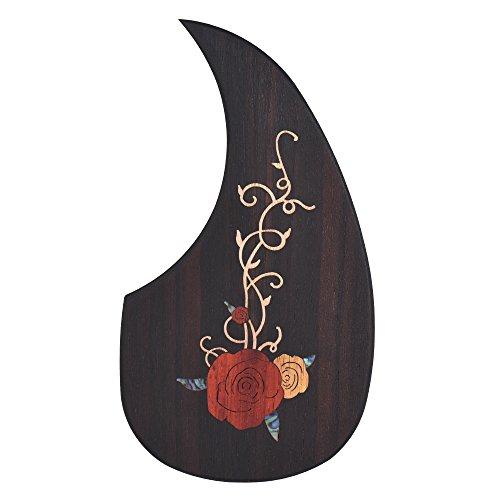 ammoon Gitarren Schlagbrett Hölzern zum 40 Zoll 41 Zoll Akustische Gitarren Ebenholz mit Dekoratives Blumenmuster Phantasie1