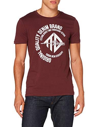 TOM TAILOR Denim Herren Coinprint T-Shirt, 12931-Decadent Bordeaux, M