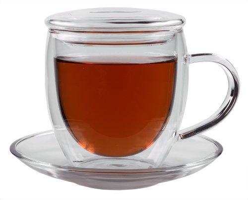 """Feelino 250ml doppelwandige Tasse mit Untersetzer und GLASDECKEL \""""Bullini\"""" - edle doppelwandige Thermotasse mit Untersetzer und Glas-Deckel - edle Glas-Teetasse / Kaffeetasse mit Schwebeeffekt, Henkel und Untersetzer"""