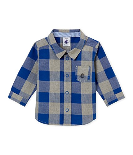 Petit Bateau Petit Bateau Baby-Jungen Chemise ML_4438101 Hemd, Mehrfarbig (Limoges/Multico 01), 62 (Herstellergröße: 3M/60cm)